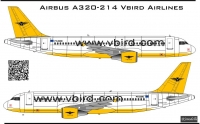 Airbus A-320 Vbird Airlines decal 1\144