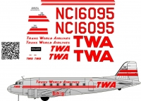 Douglas DC-3 TWA decal scale 1\48