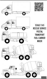 KrAZ-250, MAZ-5551, GAZ-3302 decal scale 1\43
